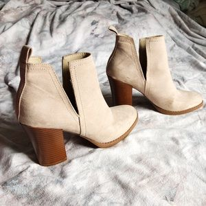 Cream, Beige, Cutout, Faux Suede, Ankle Booties